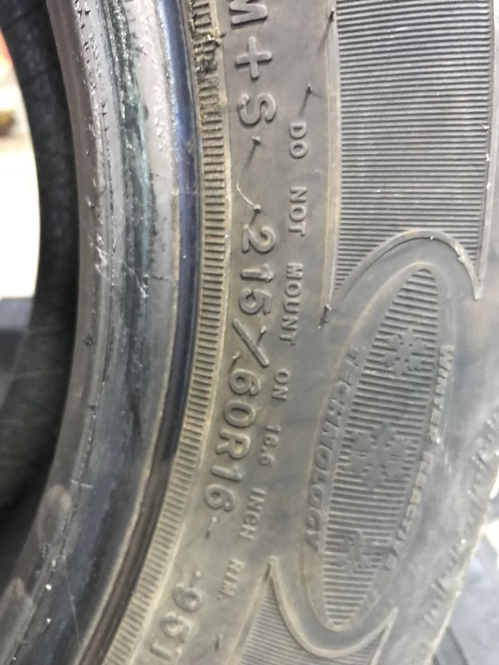 Snow Tires only had 1 winter on them 215/60/16
